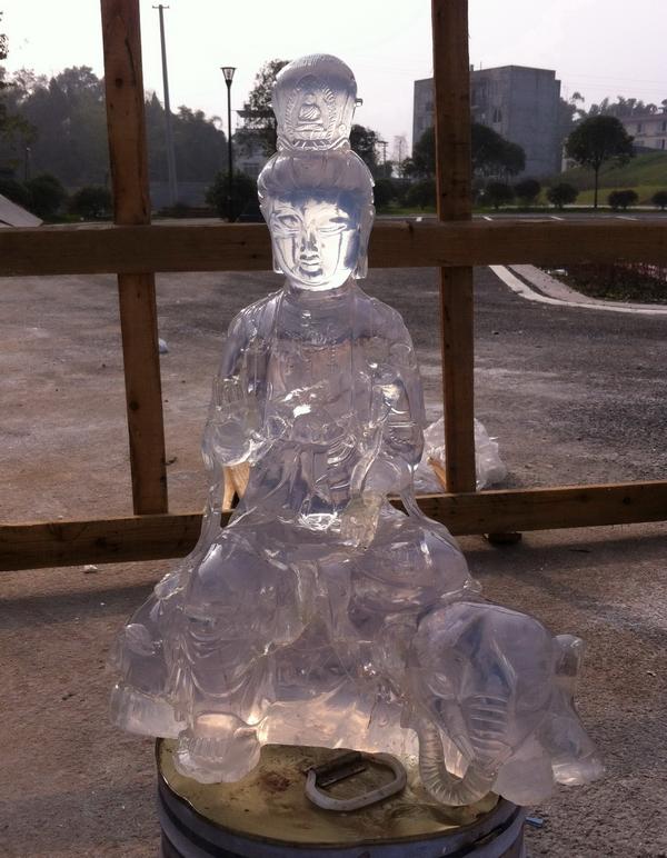 普贤水晶雕塑