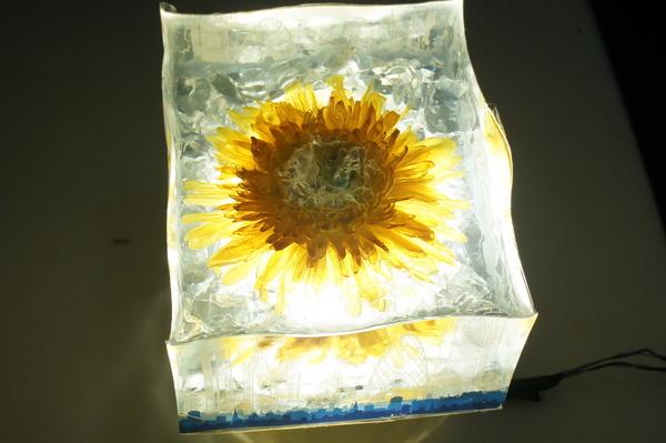 鲜花琥珀水晶雕塑制作4