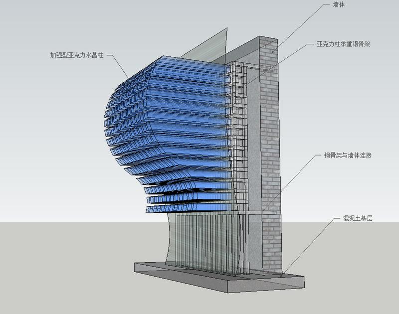 大型水晶柱 亚克力柱 密集 效果 水晶雕塑