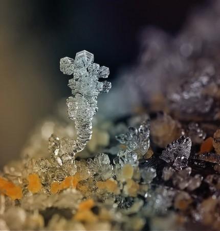天然 雪花 冰花 微距照片