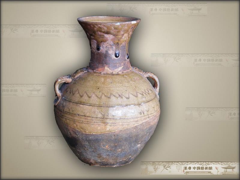 汉代 青釉双系壶