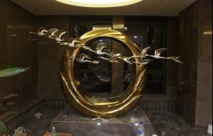 不锈钢 太阳 天鹅 场景雕塑 -川威集团