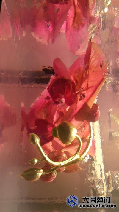 花与冰—鲜花琥珀 透明实体雕塑