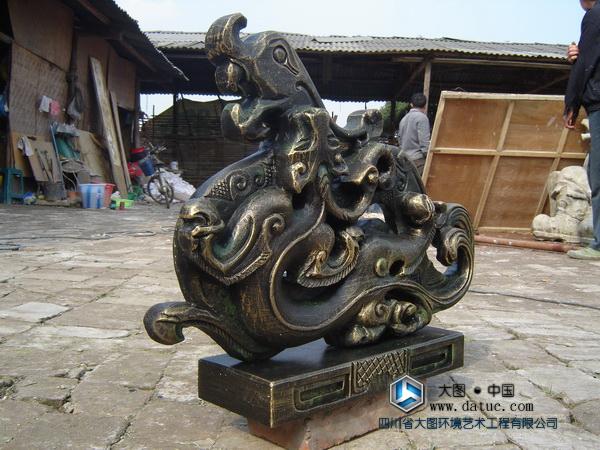 仿古青铜龙雕塑摆件