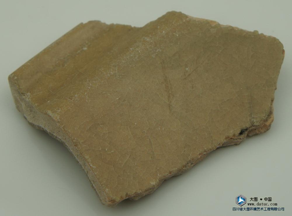 明代 龙泉窑 黄釉 瓷片标本 冰裂纹