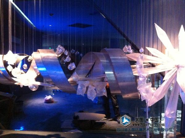 超级大型水晶簇透明实体雕塑