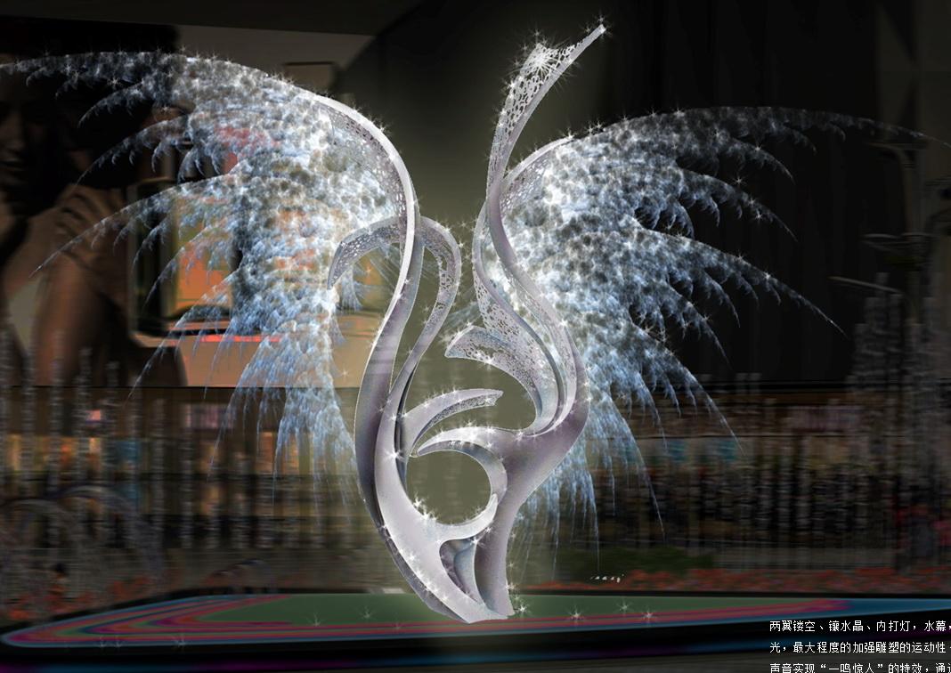 飞鸟 神鸟 水晶雕塑 水景雕塑