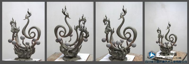 朱雀雕塑泥塑原创-五行雕塑设计创作
