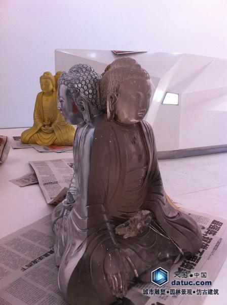 水晶三面佛(水晶雕塑,透明雕塑,实体雕塑)