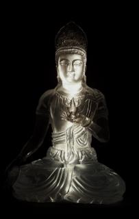 虚空藏菩萨-透明水晶佛像雕塑