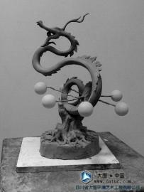 青龙五行雕塑 泥塑小样 原创设计