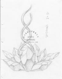 广场水景 水晶莲花 雕塑设计 手绘草图