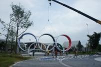 奥林匹克五环雕塑现场放样