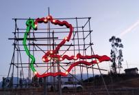 泸沽湖地图地标性城市雕塑 地图雕塑 城市雕塑 地标性雕塑